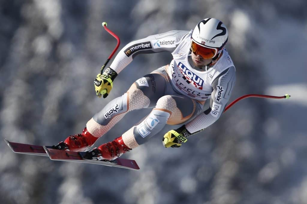 Norway's Aleksander Aamodt Kilde takes a jump as he speeds down the course during an alpine ski, men's World Cup downhill, in Kvitfjell, Norway, Saturday, March 7, 2020.