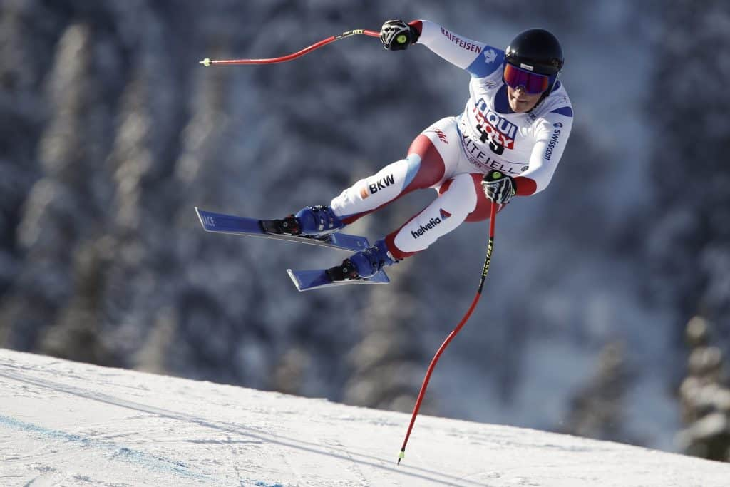 Switzerland's Cedric Ochsner speeds down the course during an alpine ski, men's World Cup downhill, in Kvitfjell, Norway, Saturday, March 7, 2020.