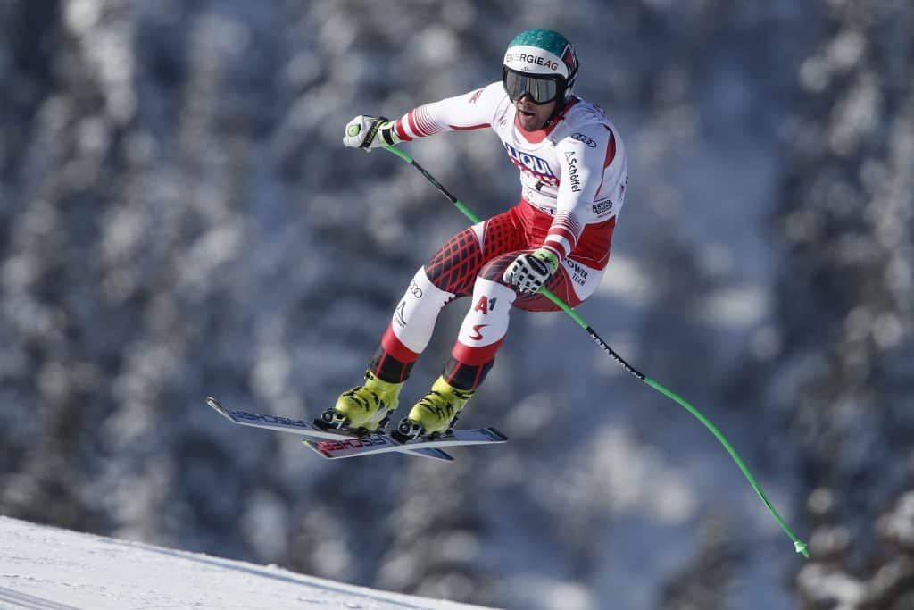 Austria's Vincent Kriechmayr speeds down the course during an alpine ski, men's World Cup downhill, in Kvitfjell, Norway, Saturday, March 7, 2020.