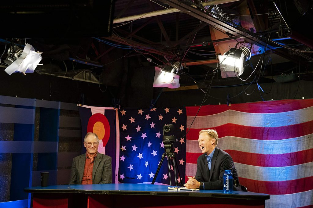 Pitkin County District 4 candidates Steve Child, left, and Chris Council answer questions during Squirm Night on Thursday, Oct. 15, 2020. (Kelsey Brunner/The Aspen Times)