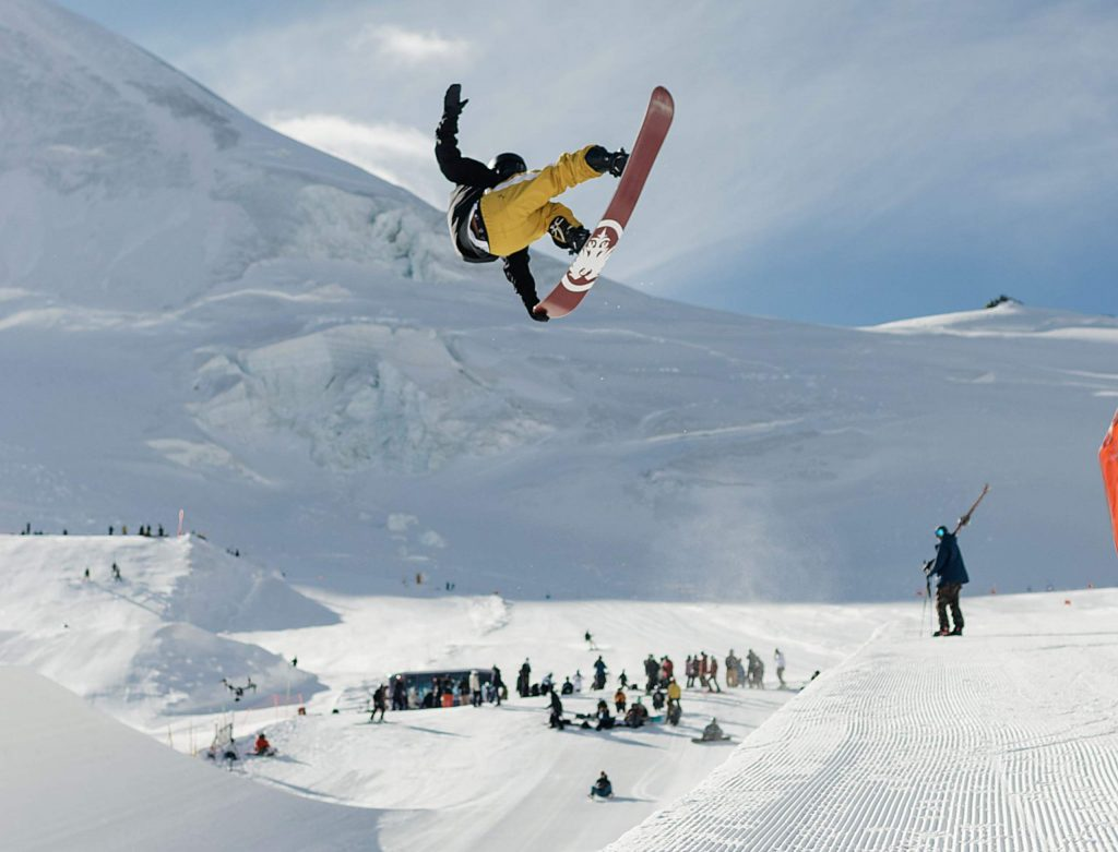 Longmont native and Dillon resident Chase Blackwell grabs his Never Summer board high above the Stomping Grounds Park superpipe in Saas-Fee, Switzerland, during U.S. Ski & Snowboard Team preseason training in October.