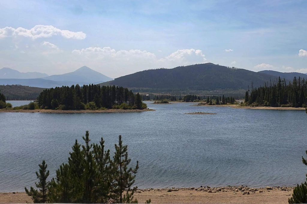 Low water levels Aug. 18 at Dillon Reservoir expose sand rings around the lake's islands. The reservoir, which is the largest in the system supplying Denver Water's customers, was about 94% full at the time.