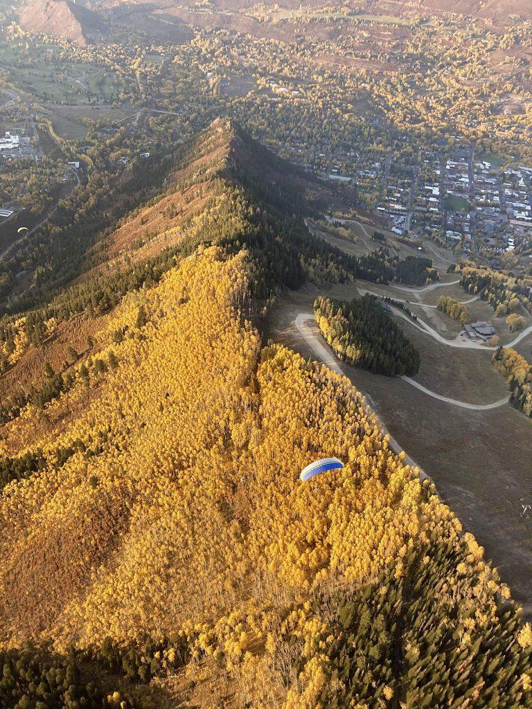 This overhead shot of the autumn colors near Aztec on Aspen Mountain was captured by David Francuzzo while he was paragliding last week.
