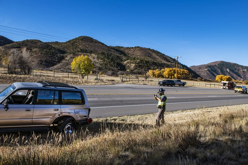 Crews respond to a multiple vehicle crash on Highway 82 in Basalt on Wednesday morning, Oct. 21, 2020. Highway 82 is currently closed in both directions due to the crash. (Kelsey Brunner/The Aspen Times)