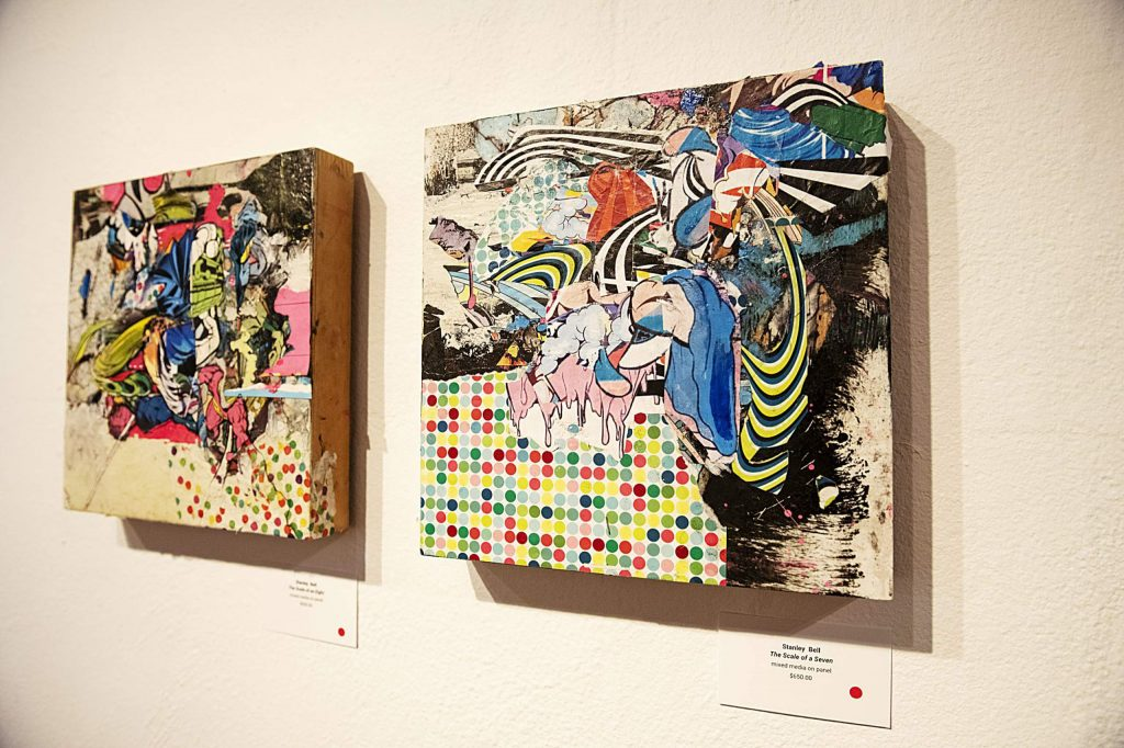 Stanley Bell's pieces hang in the show at the Red Brick Center for the Arts on Wednesday, Sept. 30, 2020. This collection of panels had already been sold. (Kelsey Brunner/The Aspen Times)