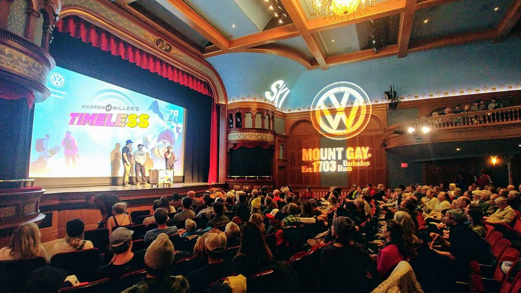 The scene at the Wheeler Opera House during the 2019 Warren Miller roadshow screening of