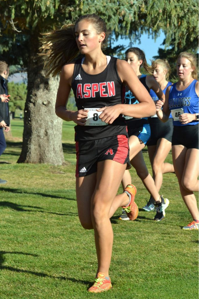 Aspen High School senior Kylie Kenny competes in the Class 3A, Region 1 race on Friday, Oct. 9, 2020, at Hillcrest Golf Club in Durango. (Joel Priest/Courtesy of the Durango Herald)