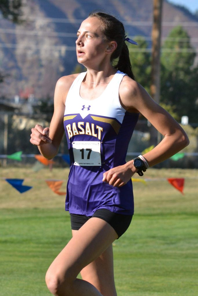 Basalt High School sophomore Katelyn Maley competes in the Class 3A, Region 1 race on Friday, Oct. 9, 2020, at Hillcrest Golf Club in Durango. (Joel Priest/Courtesy of the Durango Herald)