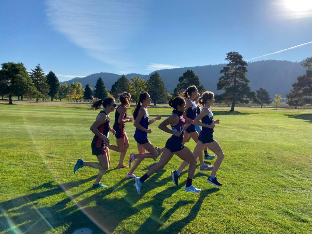 Athletes compete in the Class 3A, Region 1 girls' cross country race on Friday, Oct. 9, 2020, at Hillcrest Golf Club in Durango.
