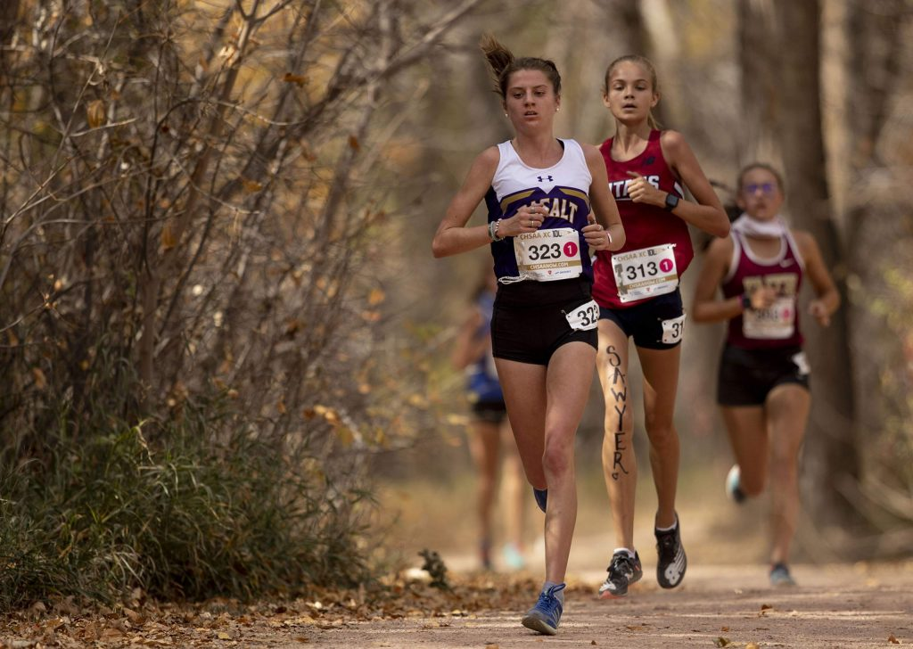 Basalt senior Sierra Bower competes in the 3A girls' state cross country championships at the Norris-Penrose Event Center in Colorado Springs on Saturday Oct. 17, 2020. Bower finished in 4th place. (Chancey Bush/The Gazette)