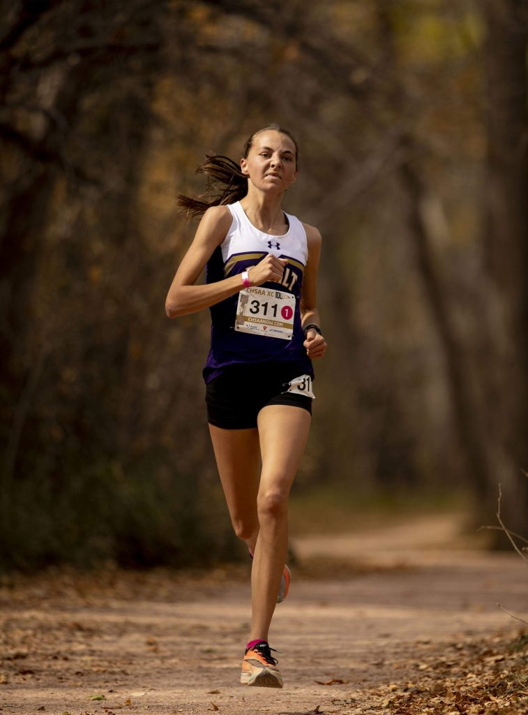 Basalt sophomore Katelyn Maley finishes in first place during the 3A girls' state cross country championships at the Norris-Penrose Event Center in Colorado Springs on Saturday Oct. 17, 2020. (Chancey Bush/The Gazette)