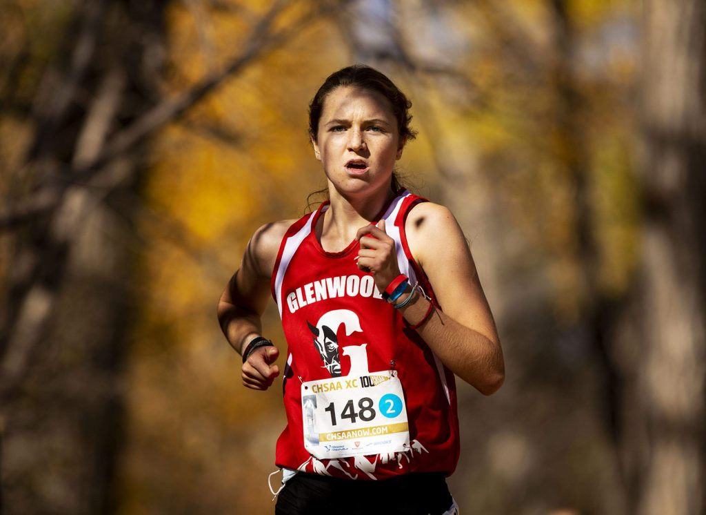 Glenwood sophomore Sophia Connerton-Nevin competes in the 4A girls' state cross country championships at the Norris-Penrose Event Center in Colorado Springs on Saturday Oct. 17, 2020. Connerton-Nevin finished in 7th place. (Chancey Bush/The Gazette)