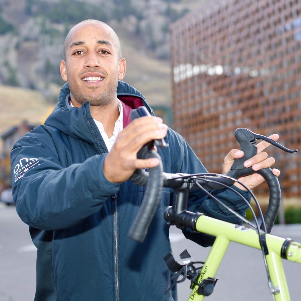 Roaring Fork Valley local Theo Williams intends to ride his bike from Aspen to Santa Monica beginning next week to raise money for the Aspen Hope Center. Photo taken on Wednesday, Oct. 14, 2020, in downtown Aspen. (Photo by Austin Colbert/The Aspen Times).