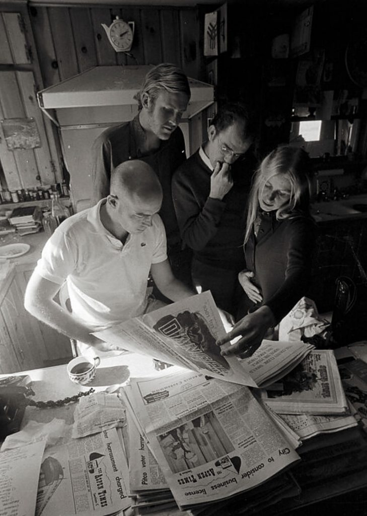 Hunter Thompson, Ed Bastian, William Kennedy and Sandy Thompson at Owl Farm during the 1970 campaign.