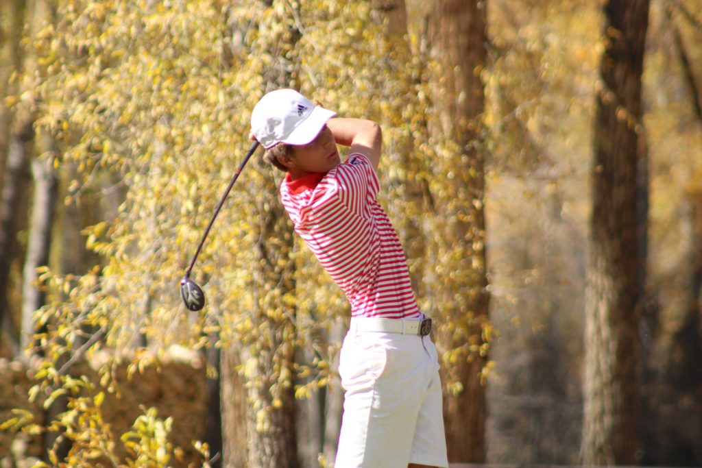 Aspen High School junior Nic Pevny competes on Tuesday, Oct. 6, 2020, at the Class 3A state golf tournament at Dos Rios Golf Club in Gunnison. Pevny won the tournament to become Aspen's first individual state champion in golf. (Photo by Dan Mohrmann/CHSAANow.com)