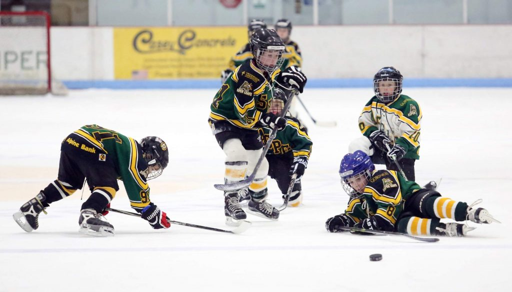Aspen Junior Hockey skaters play in a past season at Lewis Ice Arena.