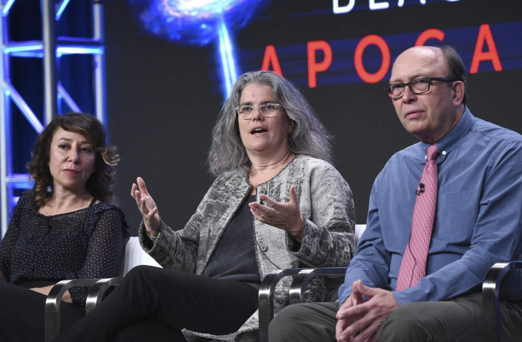 Host Janna Levin, from left, Andrea Ghez and producer/director/writer Rushmore DeNooyer participate in the