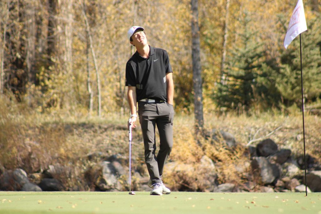 Aspen High School senior Cole Kennedy reacts after a putt on the 18th green during the first round of the Class 3A state golf tournament on Monday, Oct. 5, 2020, at Dos Rios Golf Club in Gunnison. (Photo by Dan Mohrmann/CHSAANow.com)