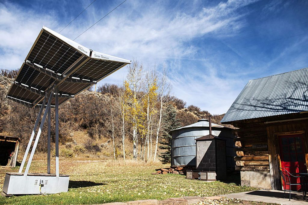 A Skyhook Solar Station is stored at a ranch in Woody Creek on Tuesday, Oct. 20, 2020.