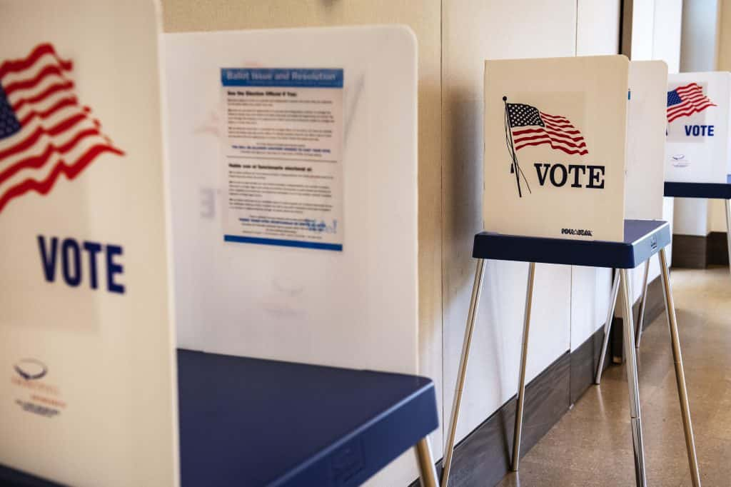 Voter booths at the Aspen Jewish Community Center for in-person voting on Monday, Oct. 19, 2020.