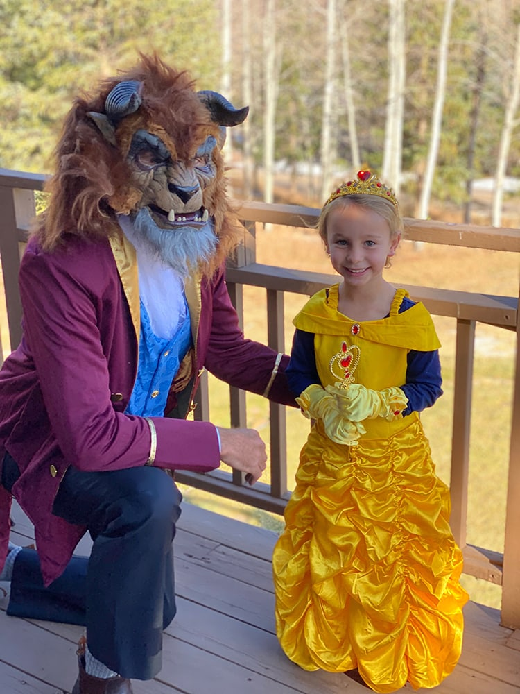 Beauty and the Beast in Snowmass. Hugh Marsh with his adorable daughter, Mia, on Halloween.