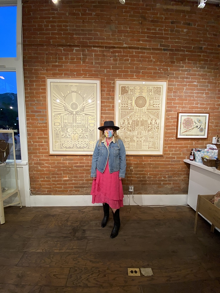 Anna Hazard, communications director at Skye Gallery, at an opening there this fall.