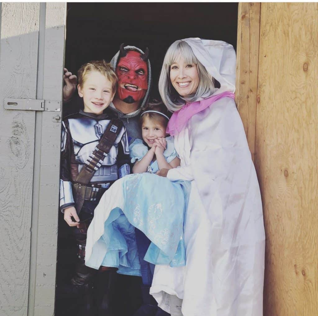 Jens and Eliana with their dad, Brandon Manka, and mom, Betty Schou, on Halloween in Snowmass.