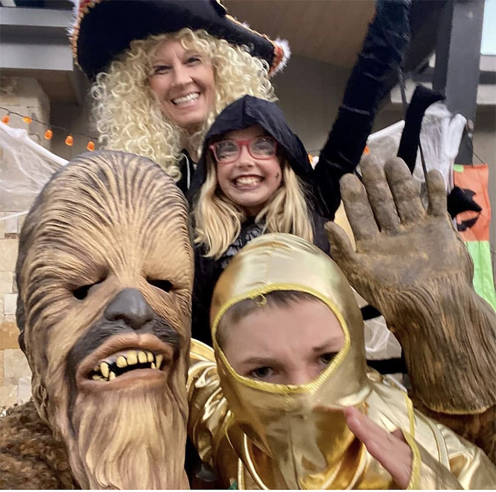 Missy, Bali, River and Chris Klug get into the Halloween spirit in Snowmass.