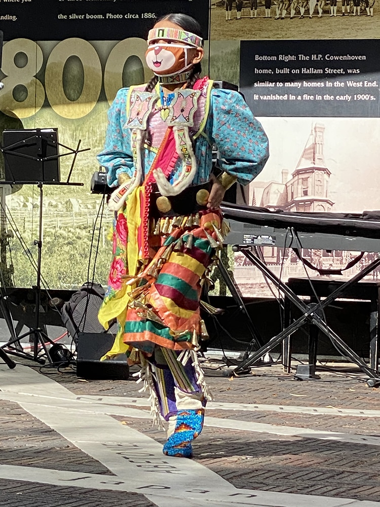 One of the younger performers in the Aspen Indigenous Foundation's presentation on the Aspen Sister Cities Plaza in October.
