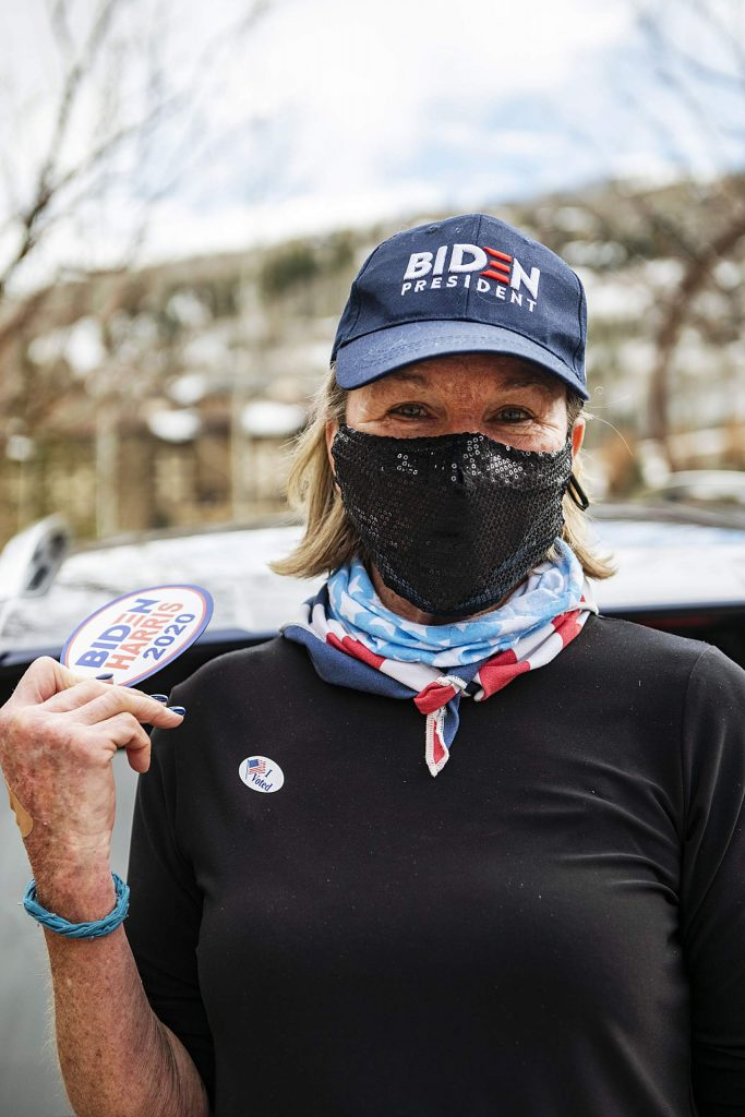 Laura Riegel on Election Day in Snowmass on Tuesday, Nov. 3, 2020. (Kelsey Brunner/The Aspen Times)