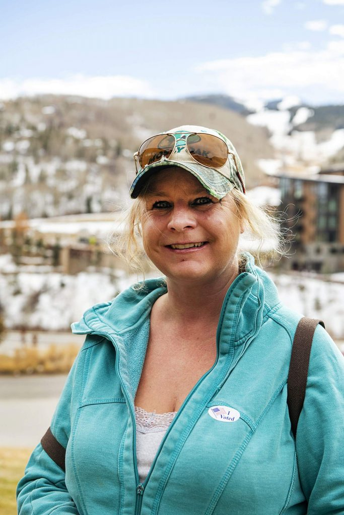 Kirstie Littell after voting on Election Day in Snowmass on Tuesday, Nov. 3, 2020. (Kelsey Brunner/The Aspen Times)