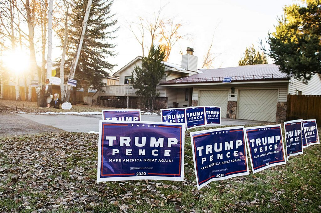 Trump signs line the front yard of a home in Aspen on Election Day, Tuesday, Nov. 3, 2020. (Kelsey Brunner/The Aspen Times)