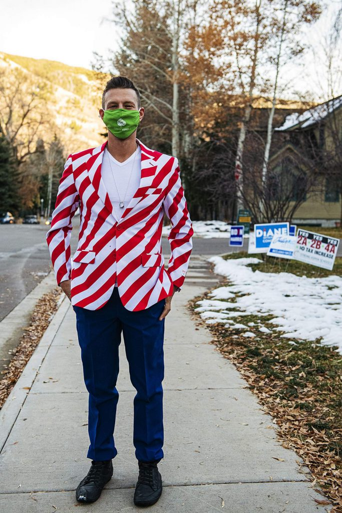 Aspen City Council member Skippy Mesirow wears a patriotic suit on Election Day in Aspen on Tuesday, Nov. 3, 2020. (Kelsey Brunner/The Aspen Times)