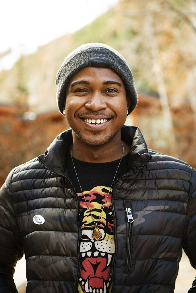 Daventri Brown after voting on Election Day in Aspen on Tuesday, Nov. 3, 2020. (Kelsey Brunner/The Aspen Times)