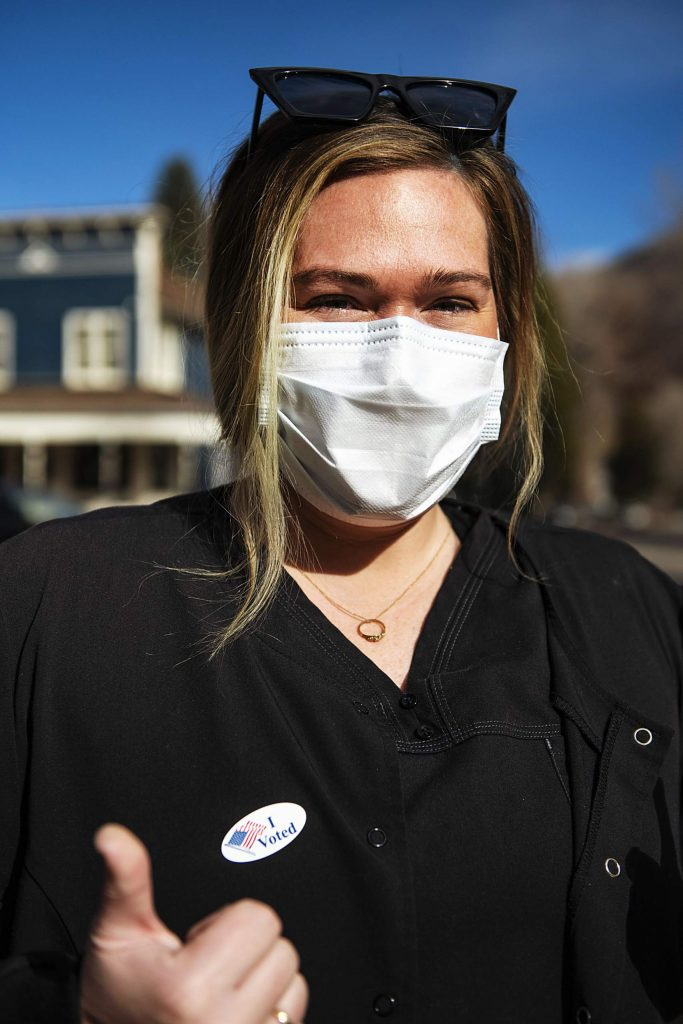 Katie Kloster after voting on Election Day in Aspen on Tuesday, Nov. 3, 2020. (Kelsey Brunner/The Aspen Times)