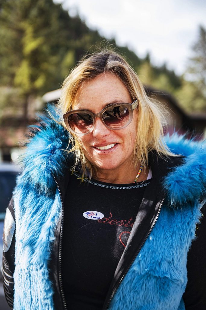 Michelle Lawson after voting on Election Day in Aspen on Tuesday, Nov. 3, 2020. (Kelsey Brunner/The Aspen Times)