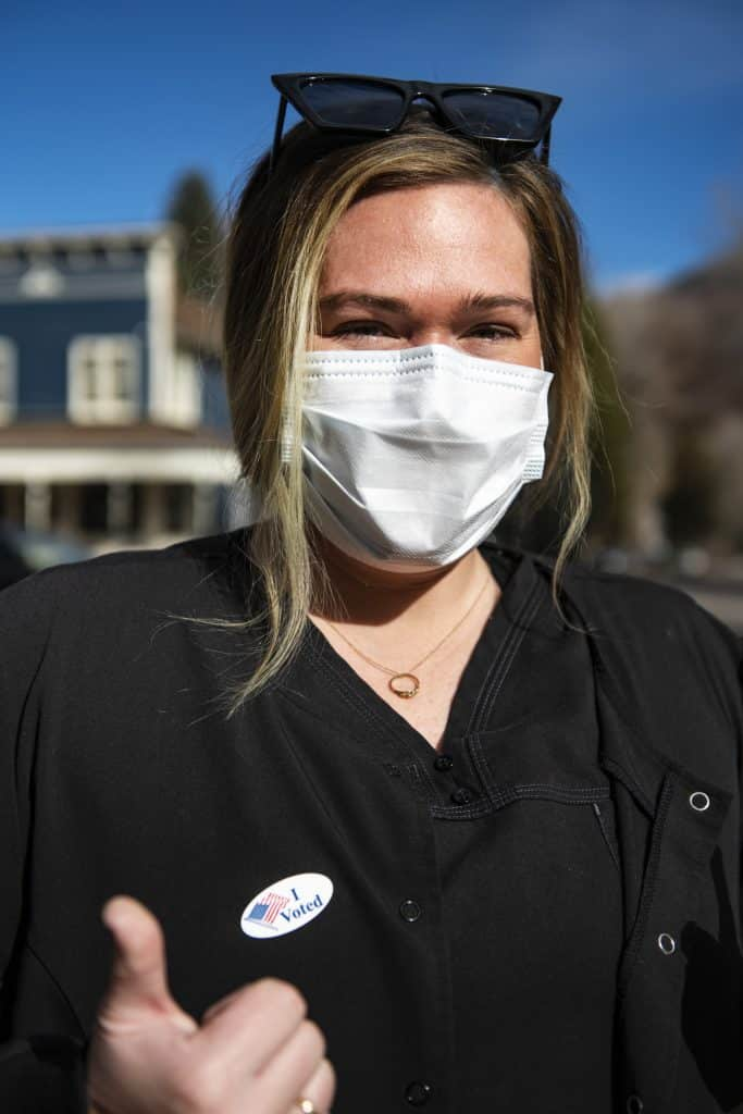 Katie Kloster after voting on Election Day in Aspen on Tuesday, Nov. 3, 2020.