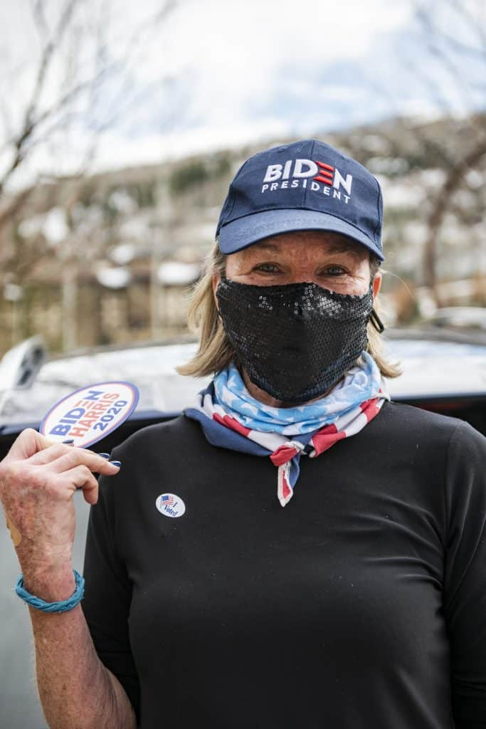 Laura Riegel on Election Day in Snowmass on Tuesday, Nov. 3, 2020.