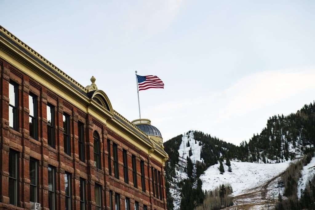 An American Flag waves in the wind from the top of the Elks Building in Aspen on Election Day, Tuesday, Nov. 3, 2020.