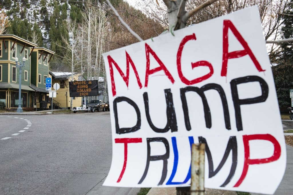 A sign is displayed on the side of the road coming into Aspen on Election Day, Tuesday, Nov. 3, 2020. (Kelsey Brunner/The Aspen Times)