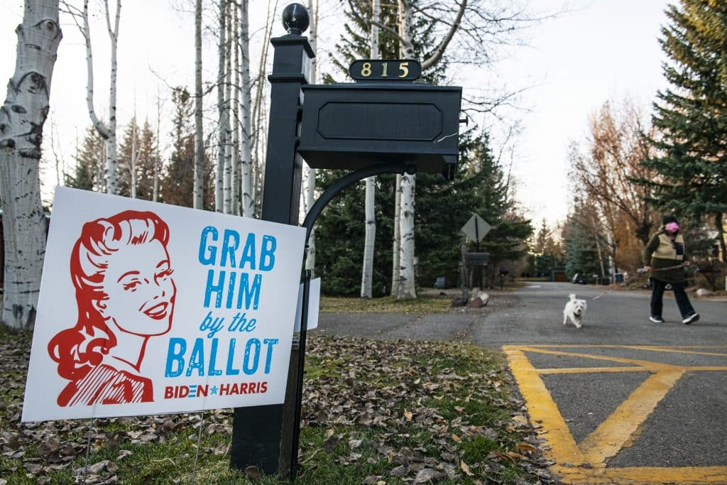 A political sign is displayed in the front yard of a home in Aspen on Election Day, Tuesday, Nov. 3, 2020.