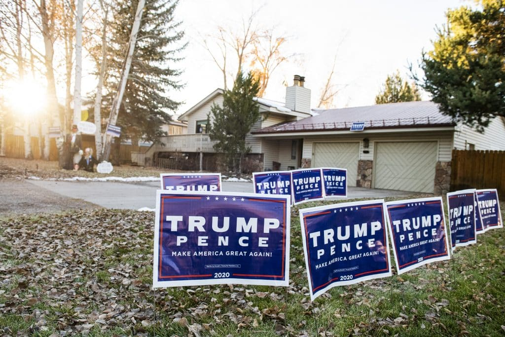 Trump signs line the front yard of a home in Aspen on Election Day, Tuesday, Nov. 3, 2020.