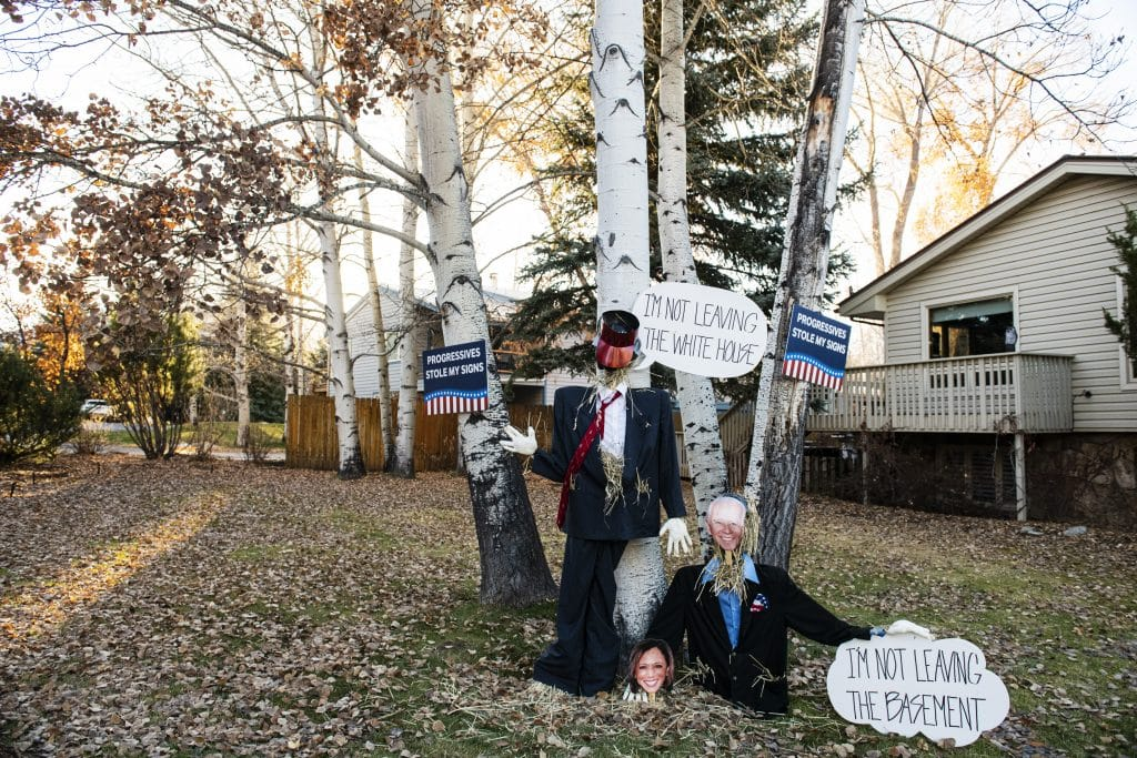 An intricate pro-Trump display in Aspen on Election Day, Tuesday, Nov. 3, 2020.