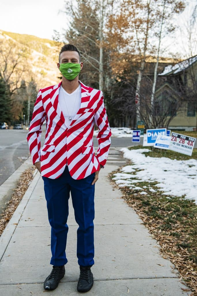Aspen City Council member Skippy Mesirow wears a patriotic suit on Election Day in Aspen on Tuesday, Nov. 3, 2020.