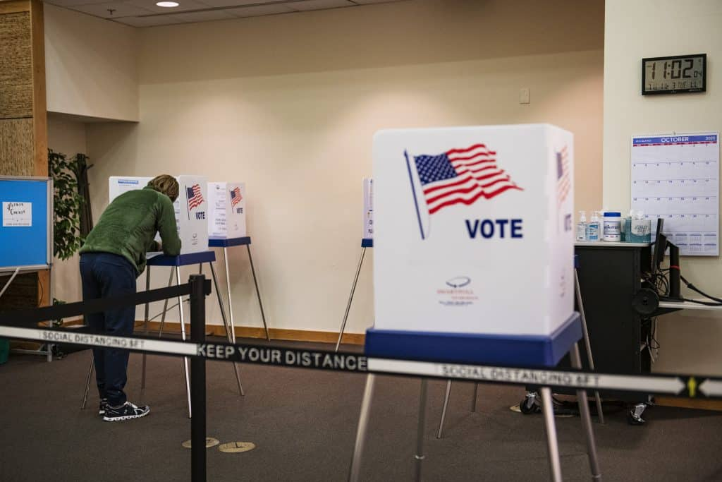 Matthew Tate votes in Snowmass Town Hall on Election Day, Tuesday, Nov. 3, 2020.