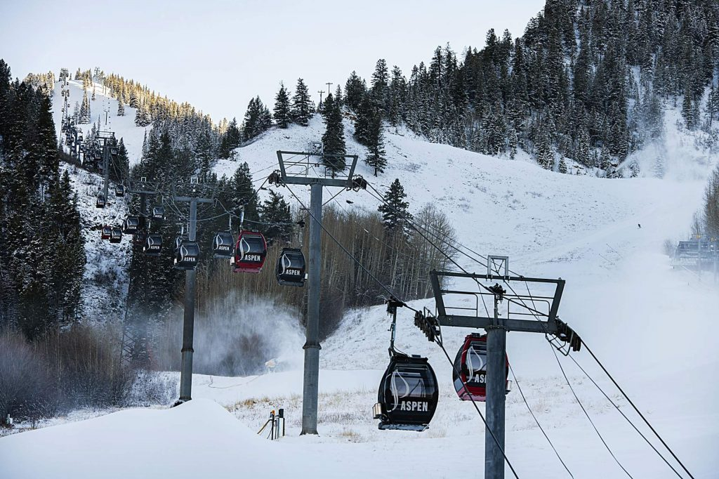 Snow blows on the Little Nell run as snow is made on Aspen Mountain on Wednesday, Nov. 11, 2020. (Kelsey Brunner/The Aspen Times)