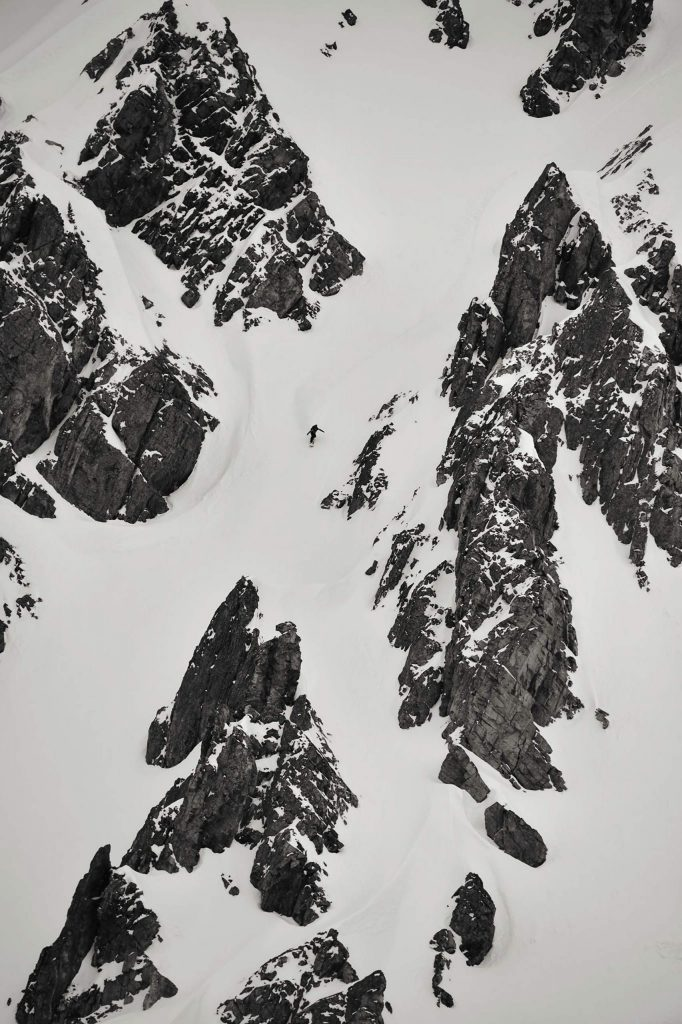 Michael Mawn, who will be a rookie on the Freeride World Tour this year, rides a big-mountain line.