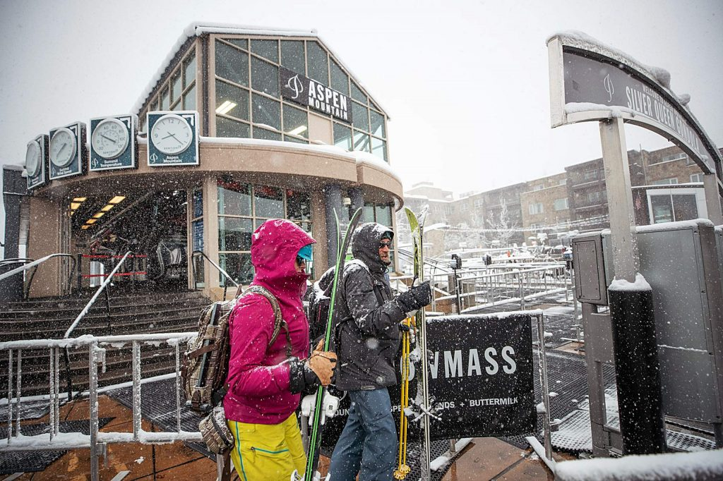 Skiers wait for the first chair on the Silver Queen Gondola at Aspen Mountain in this file photo. Aspen Snowmass won't repeat as the top resort in the West in SKI Magazine's readers' survey