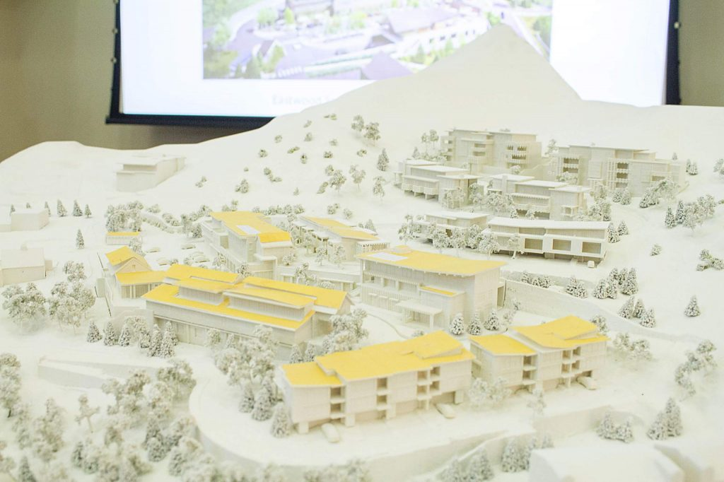 A model of the proposed design for the Snowmass Center redevelopment and expansion brought into Town Council Nov. 4 by Design Workshop, an architectural firm in Aspen.
