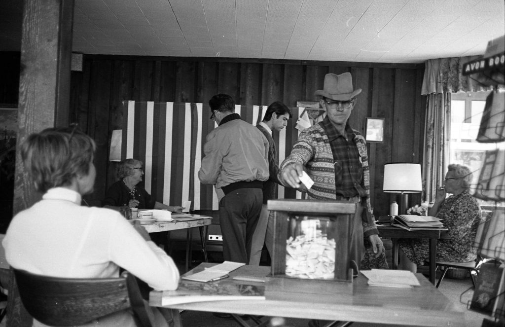 Election day 1965 in Aspen. The election officials included Gertrude Elder and Ethel Frost.